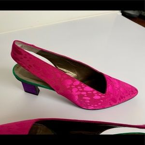 Vintage YSL Hot Pink Splatter Print Heels